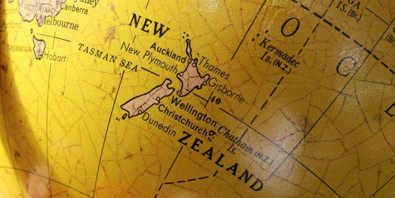 New Zealand on the globe
