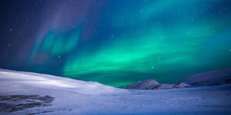 Soft glowing lights of the aurora borealis