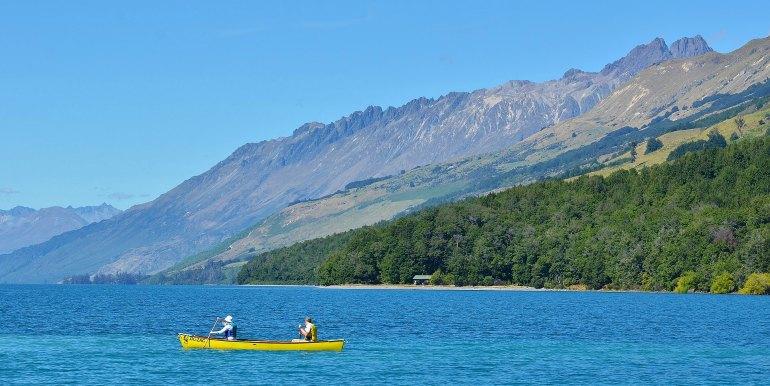 Couple kayaking in New Zealand