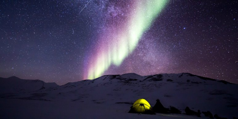 Amazing northern lights colors in Arctic