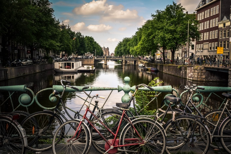 Cycles on Canal Bridge, Amsterdam