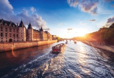 River cruise along European river at sunset