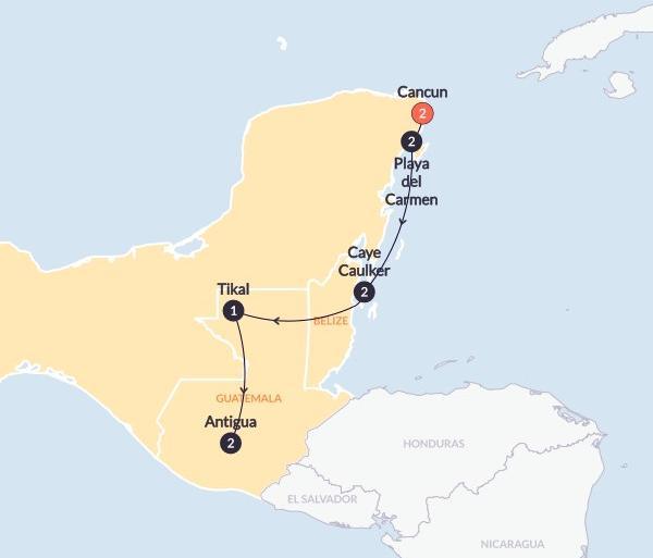 Antigua Caye Caulker Caribbean Encounter(Twin Room,Start Cancun, End Antigua) Trip