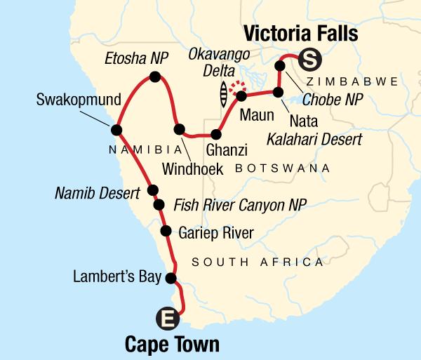 Cape Town Etosha National Park Dunes, Deltas & Falls Discoverer Trip