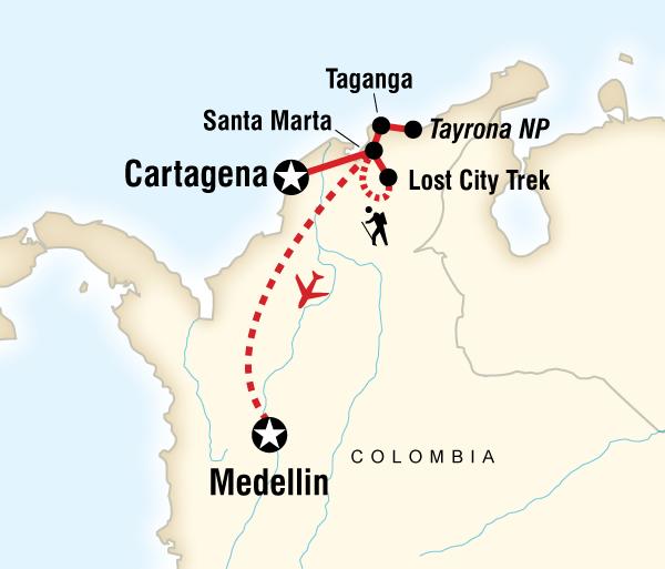 Cartagena Sierra Nevada Caribbean, the Lost City & Medellin Adventure Trip