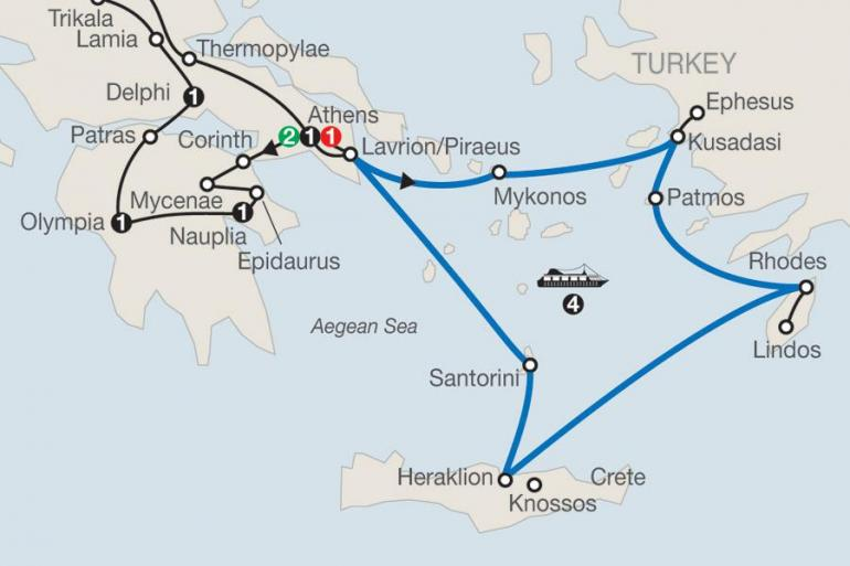 Athens Corinth Classical Greece with Iconic Aegean 4-Night Cruise Trip