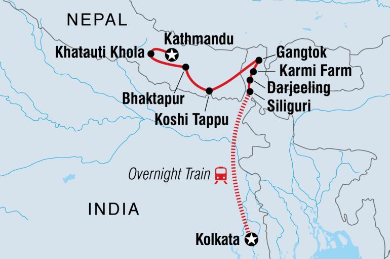 Darjeeling Durbar Square Kolkata to Kathmandu Overland Trip
