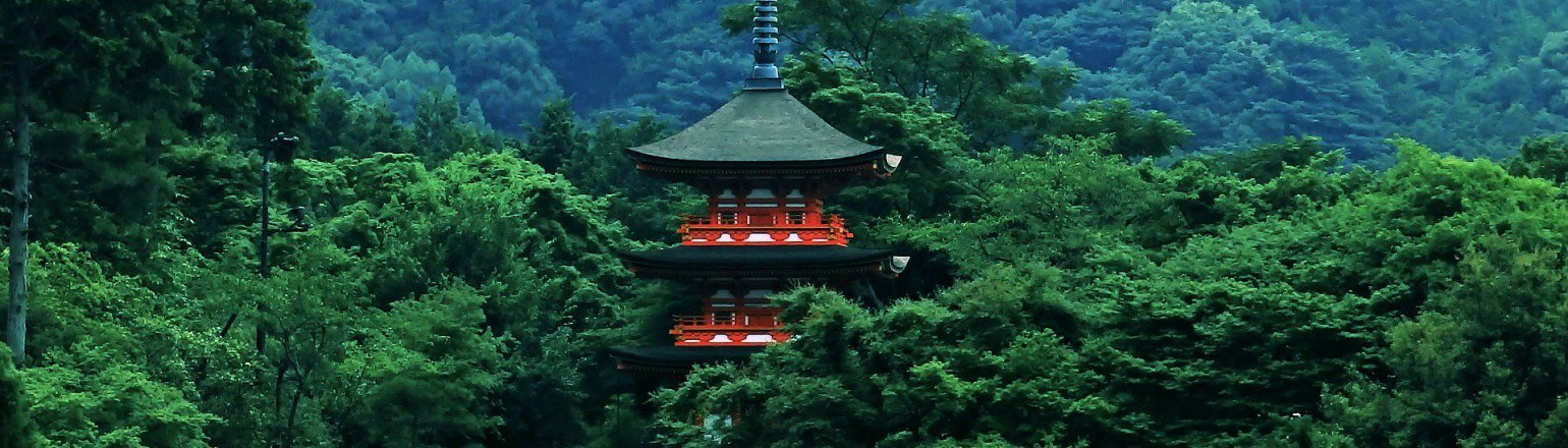 Red pagoda amid green forest in mountains in China