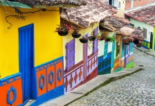 Colorful yellow and blue house in Colombia