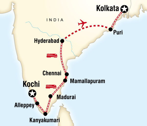 Chennai Kerala Southern India & East Coast by Rail Trip