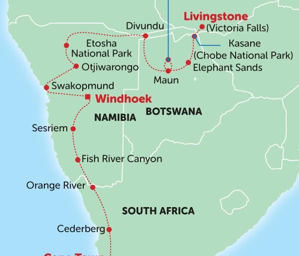 Cape Town Livingstone Delta & Deserts Trip