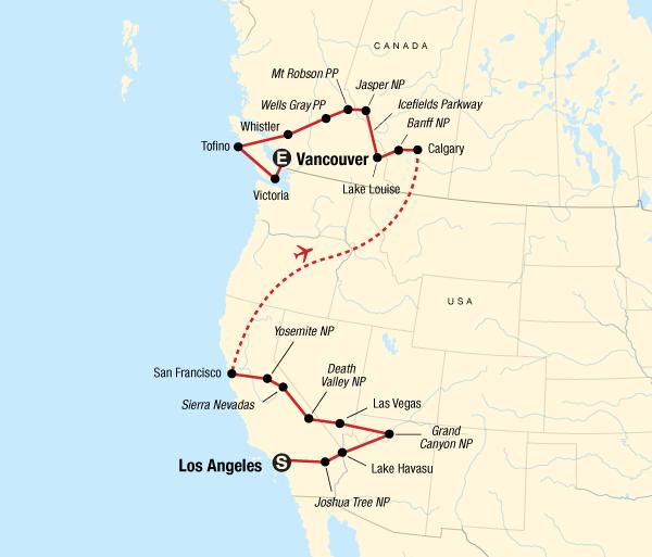Calgary Death Valley West Coast Discovery – US & Canada Trip