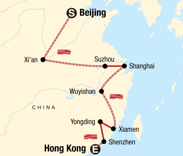 Beijing Hong Kong Beijing to Hong Kong–Fujian Route Trip