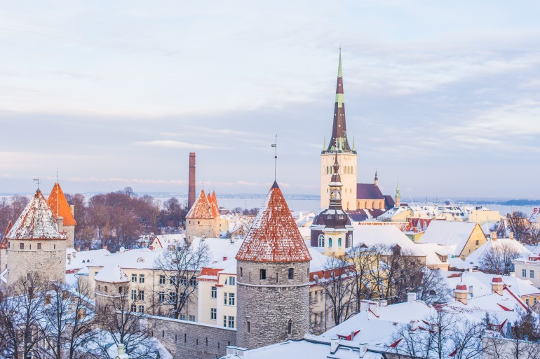 Old Town Covered in Snow of Tallinn, Estonia