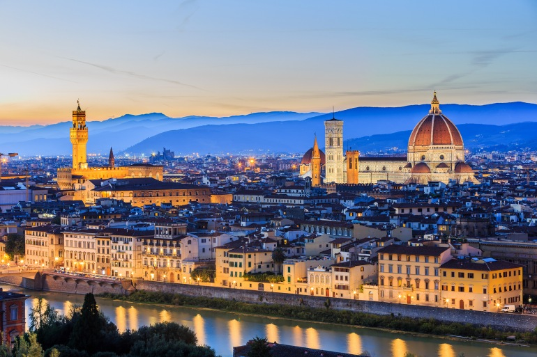 Stunning Night view of City Florence, Italy