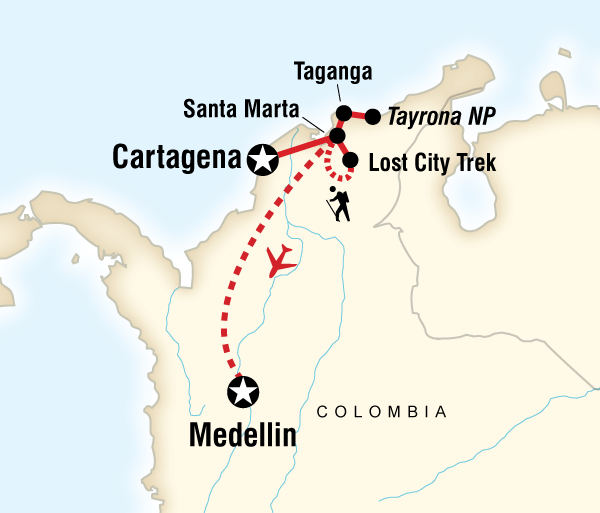 Cartagena Sierra Nevada Caribbean, the Lost City & Medellin Adventure Trip