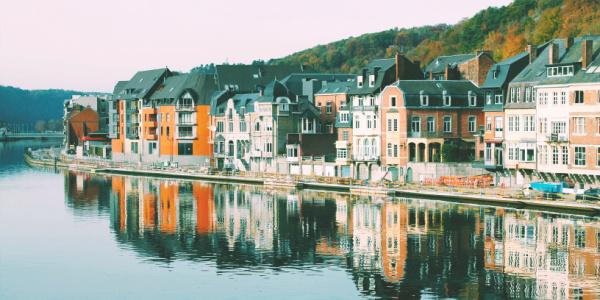 Small scandinavian european village on the water