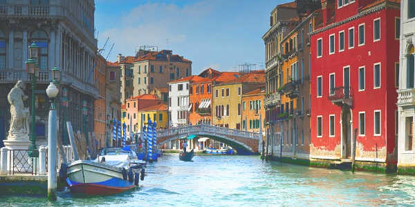 Brightly colored buildings in Venice, Monograms travel