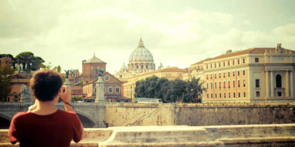 Traveler enjoying view of the Vatican in Italy